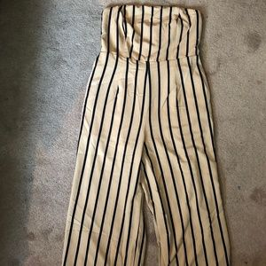 Plus Size Tube Top Tan Striped Jumpsuit